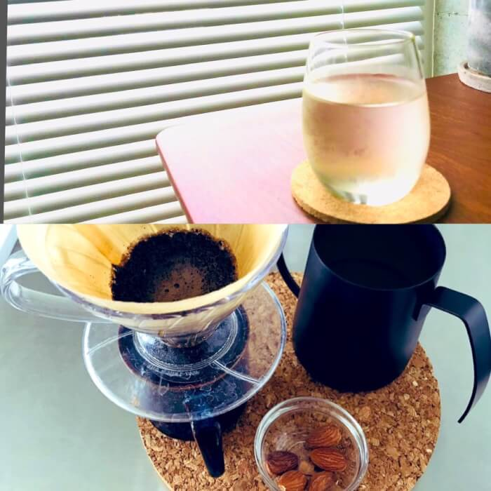 水とコーヒーとアーモンド